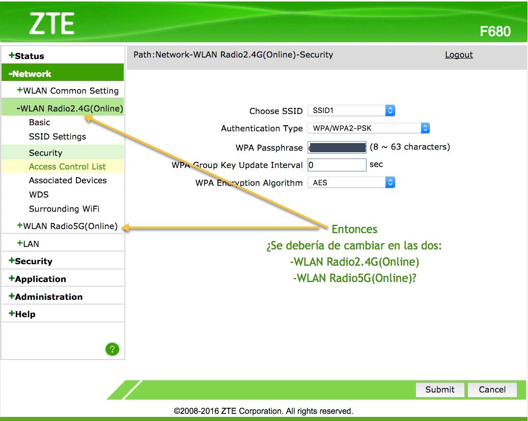 cambiar clave wifi del router zte de jazztel