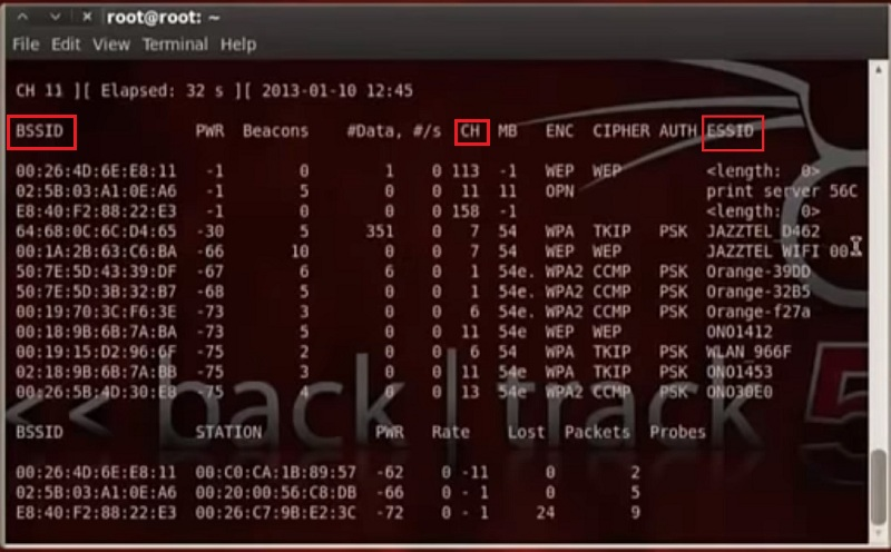 escanear redes con backtrack