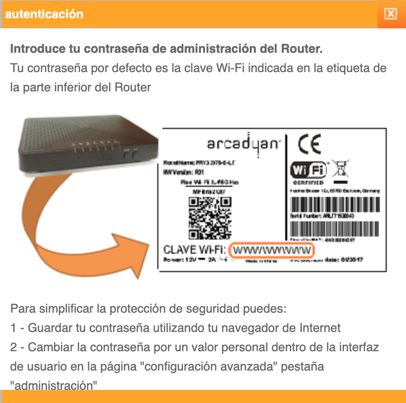 modificar clave wifi Orange