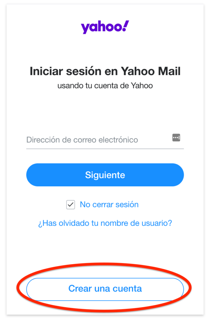 crear cuenta de yahoo mail