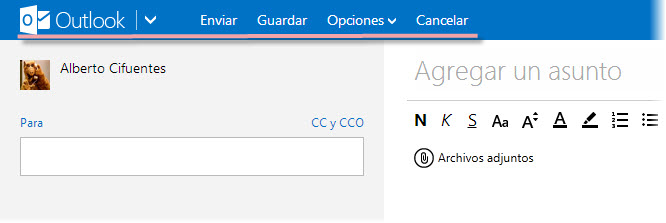 mandar email con outlook