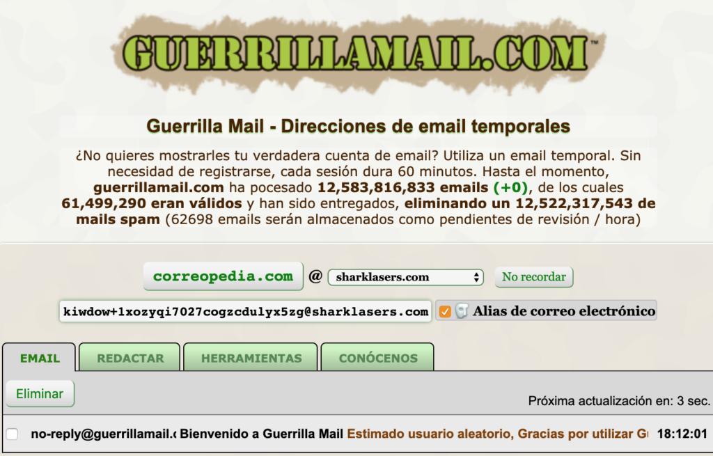 guerrillamail.com correo electrónico temporal