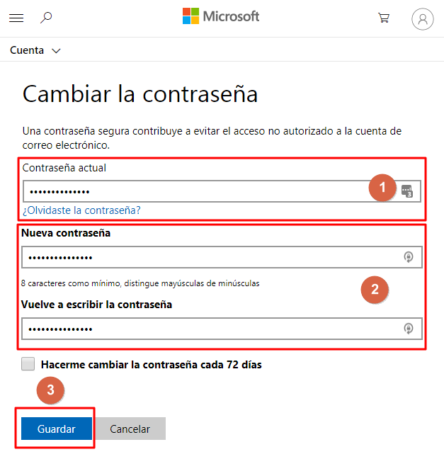cambiar clave outlook