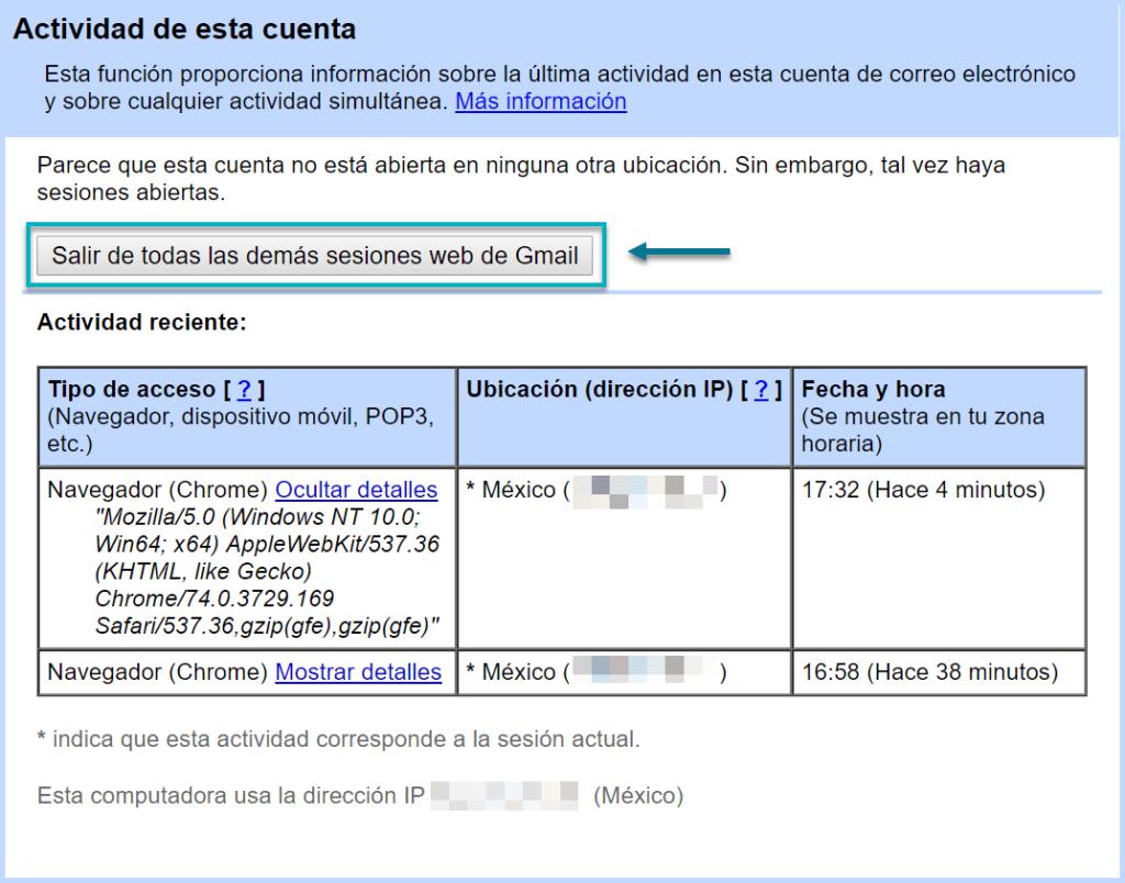 cerrar sesiones activas en Gmail
