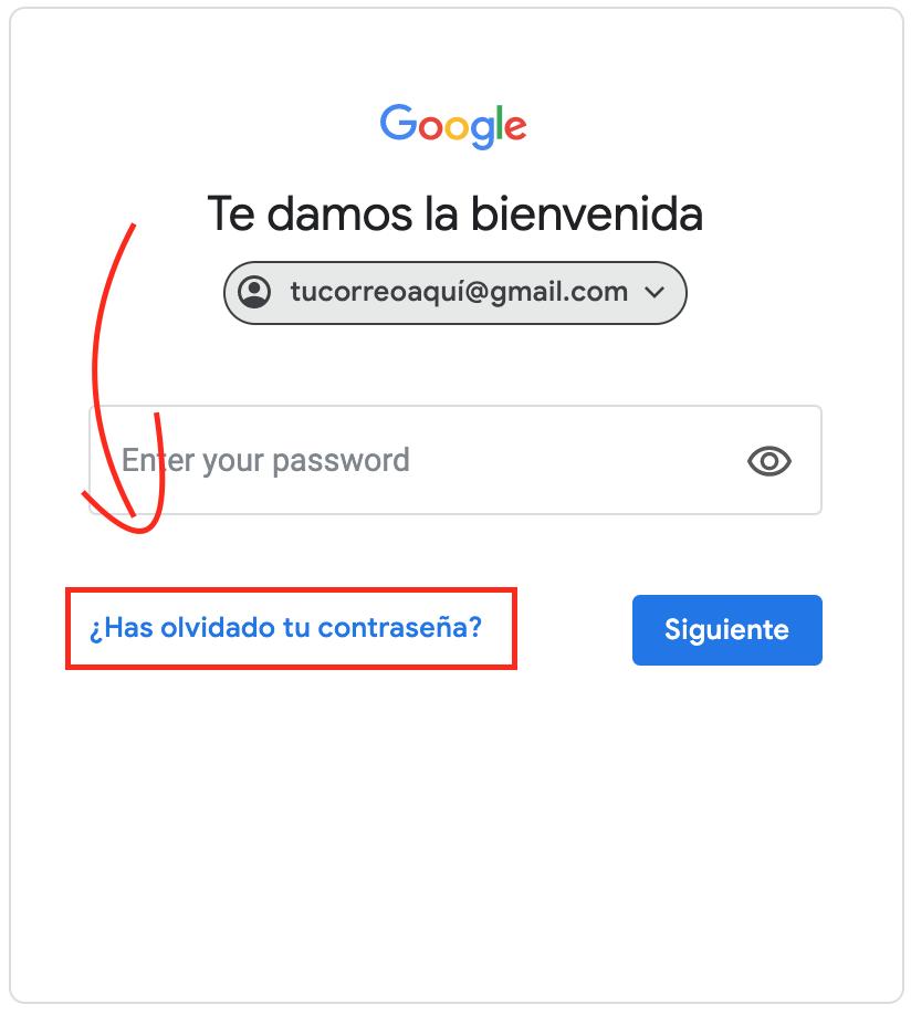 has olvidado tu contraseña gmail
