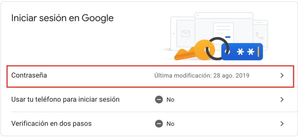 modificar datos de acceso en gmail