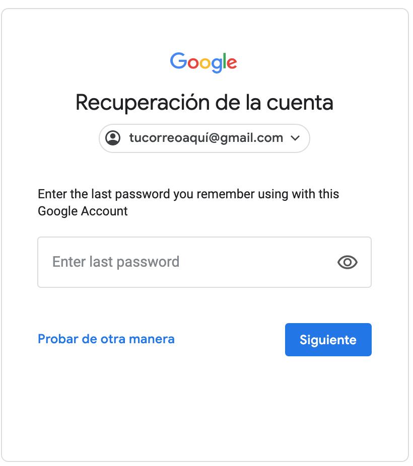 recuperación de la cuenta de Gmail
