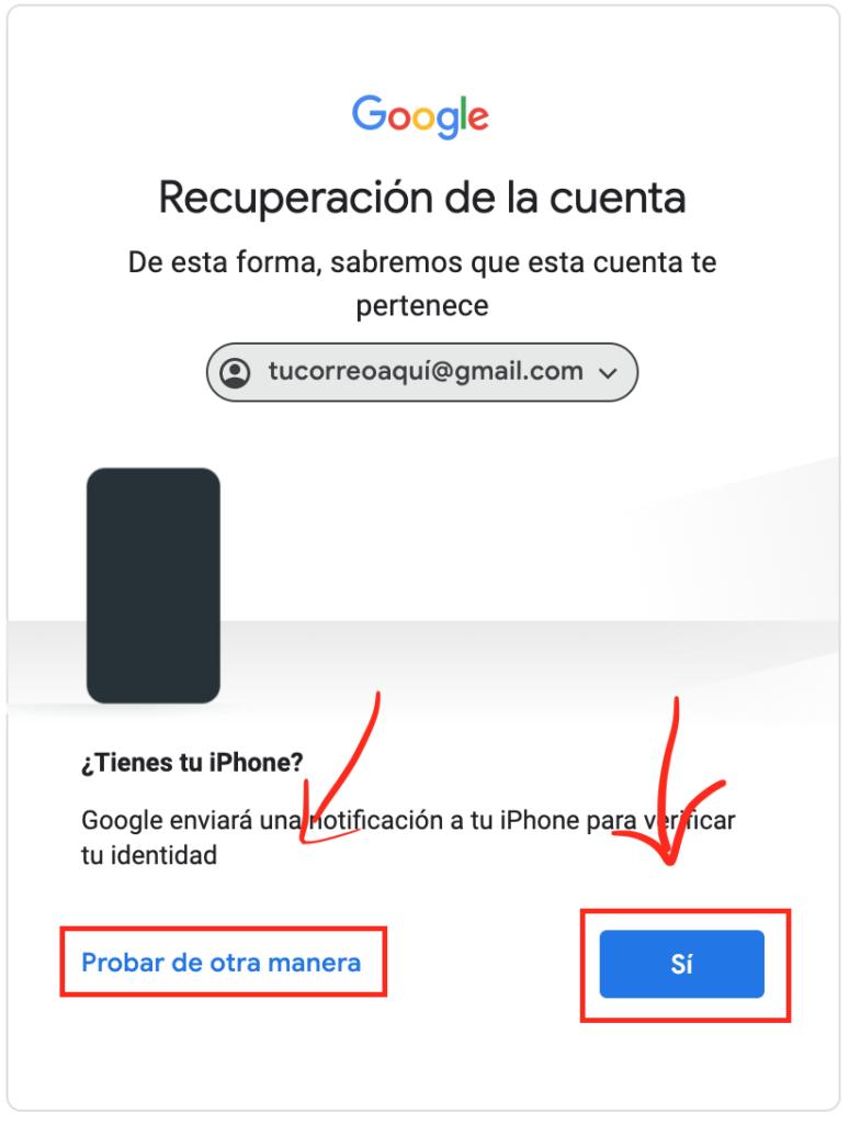 verificar identidad en Gmail