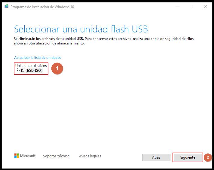 Seleccionar una unidad flash USB