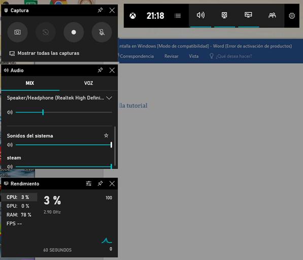 Cómo hacer captura de pantalla con Barra de juegos paso 1