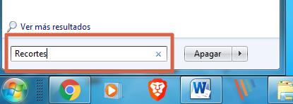 Cómo hacer captura de pantalla con Recortes paso 1