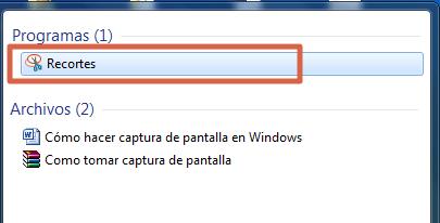 Cómo hacer captura de pantalla con Recortes paso 2
