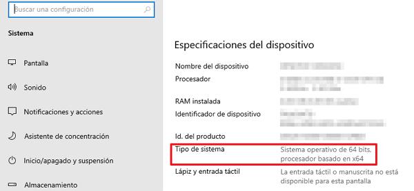 Cómo saber cuantos bits tiene mi PC Acerca del sistema paso 3