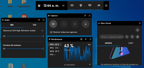 Captura de pantalla en Windows 10 utilizando Game Bar