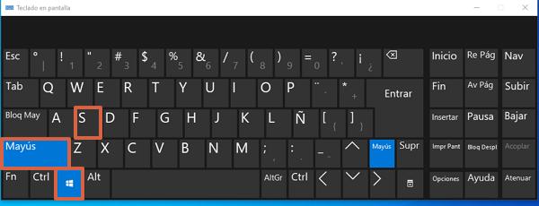Combinación Win + Shift + S para realizar capturas de pantalla en Windows 10