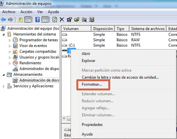 Cómo formatear con herramientas de Windows paso 3