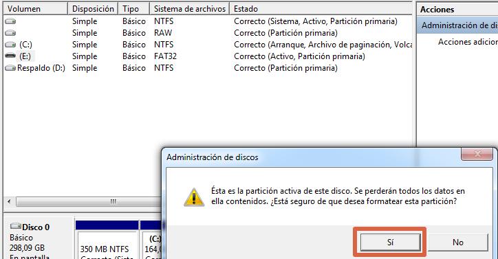 Cómo formatear con herramientas de Windows paso 4