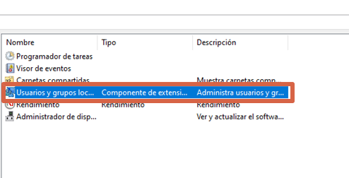 Eliminar contraseña en Windows 10 con la Administración de equipos paso 3