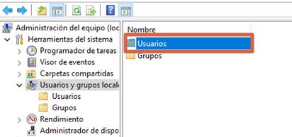 Eliminar contraseña en Windows 10 con la Administración de equipos paso 4
