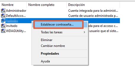 Eliminar contraseña en Windows 10 con la Administración de equipos paso 5