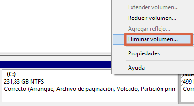 Eliminar y rehacer volumen de un USB desde el Administrador de Discos paso 1