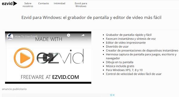 Ezvid como programa de descarga para grabar pantalla de Windows 10