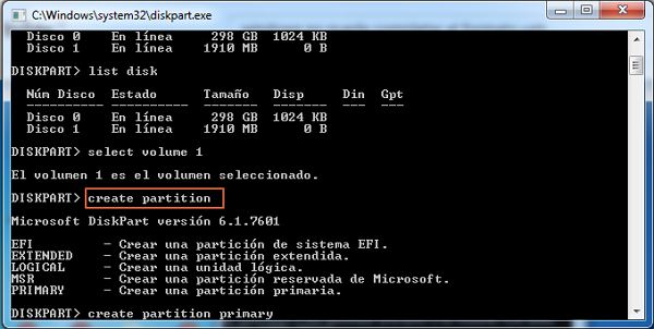 Formatear USB con Diskpart paso 5