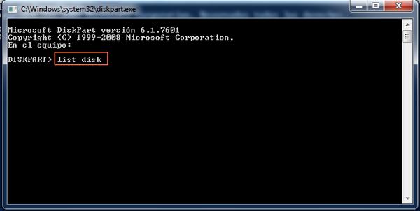 Formatear USB con diskpart paso 3