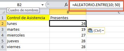 Formula ALEATORIOENTRE en Excel