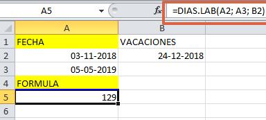Formula DIASLAB en Excel