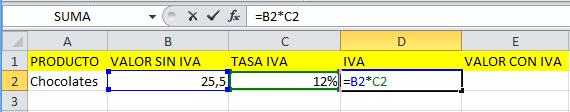 Formula de IVA en Excel de forma manual paso 1