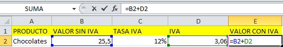 Formula de IVA en Excel de forma manual paso 2