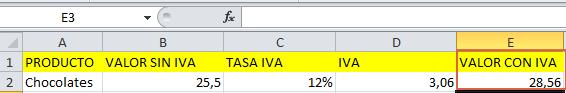 Formula de IVA en Excel de forma manual paso 3
