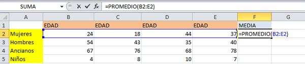 Formula promedio en Excel