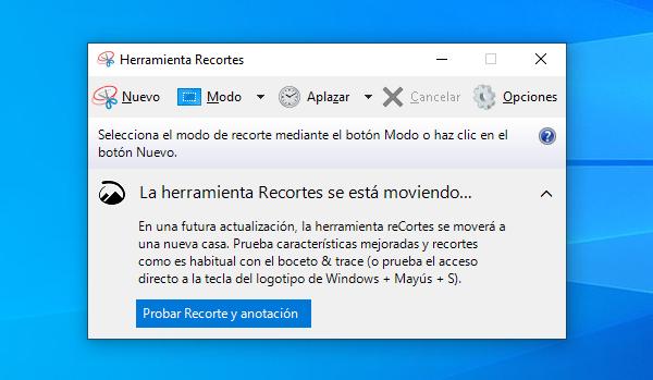 Herramienta Recortes para realizar capturas de pantalla en Windows 10