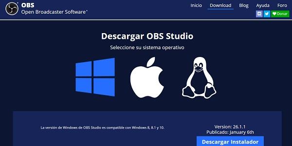 OBS Studio como programa de descarga para grabar pantalla de Windows 10