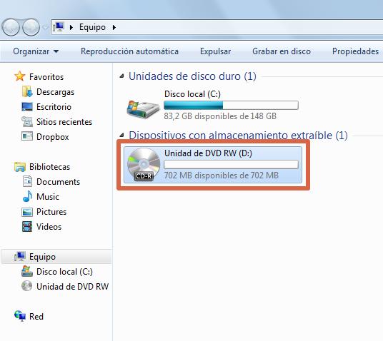 Quemar un CD con Windows paso 2