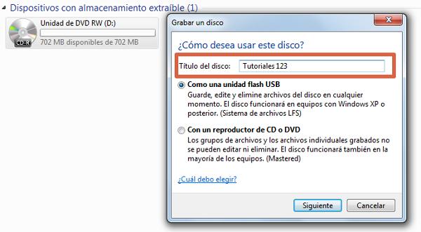 Quemar un CD con Windows paso 3