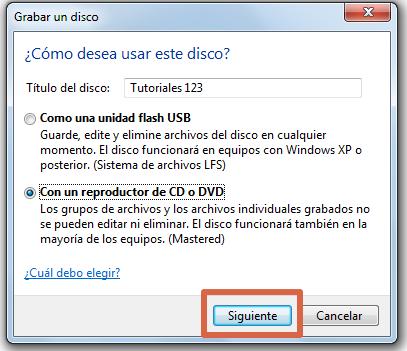 Quemar un CD con Windows paso 5