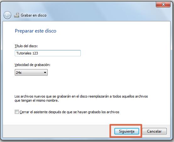 Quemar un CD con Windows paso 8