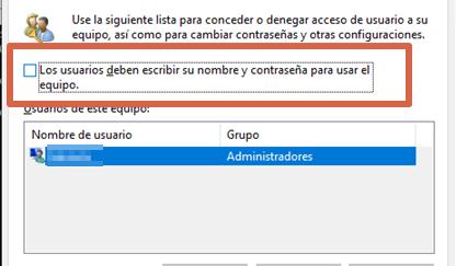 Quitar contraseña de Windows configurando cuentas de usuario paso 3