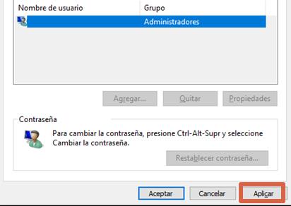 Quitar contraseña de Windows configurando cuentas de usuario paso 4