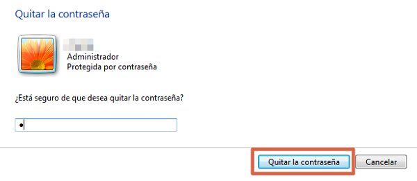 Quitar la contraseña en Windows 7 paso 5