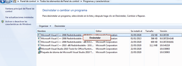 Remover Visual C++ paso 3
