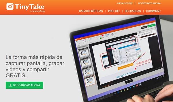 TinyTake como programa de descarga para grabar pantalla de Windows 10