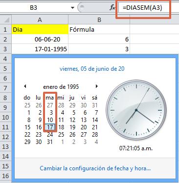 formula DIASEM en Excel.