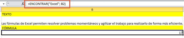 formula ENCONTRAR en Excel