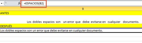formula ESPACIOS en Excel