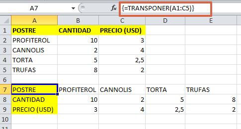 formula TRANSPONER en Excel