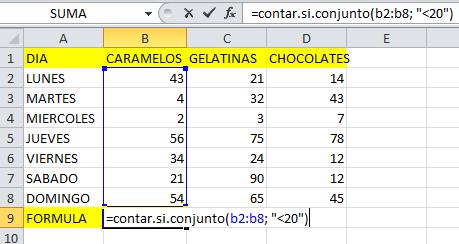 formula contarsiconjunto en Excel